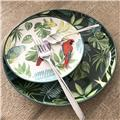 TROPICAL NIGHTS Assiette Dessert Porcelaine Décor Feuilles tropicales D18 -Les 4