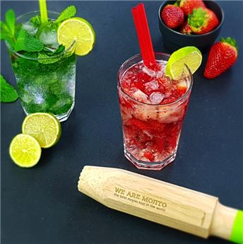 WE ARE MOJITO Ensemble 4 Verres Chope haute et pilon doseur Cookut