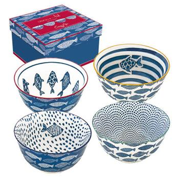 SEAL Set de 4 Bols en porcelaine D 11 Poissons bleu