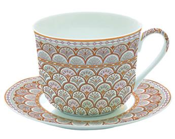MONSOON Paire Tasse à Déjeuner Porcelaine Fine Orange